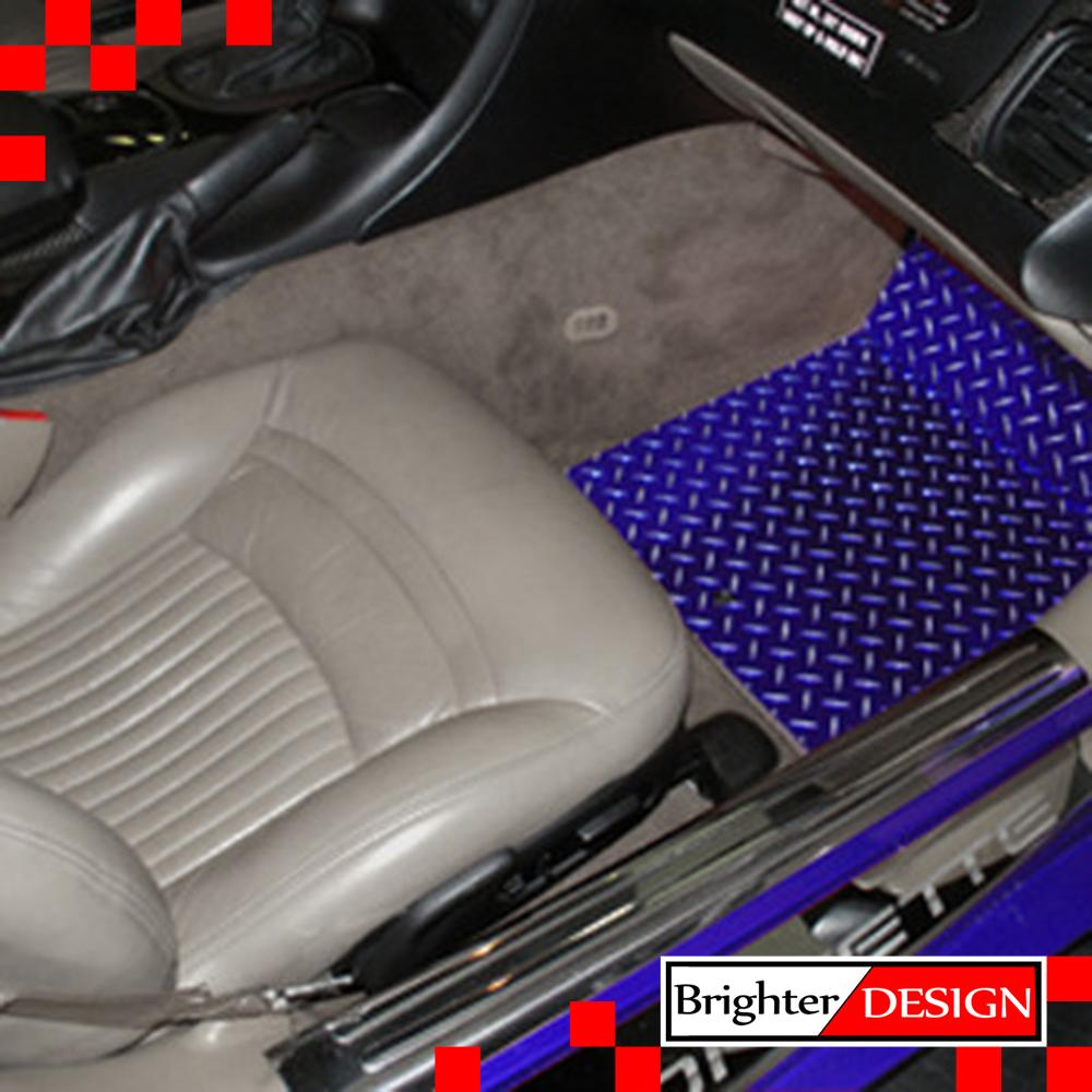 Blue Diamond Plate Show Floor Mats For 2000 Corvette [Aluminum/Powder  Coated]