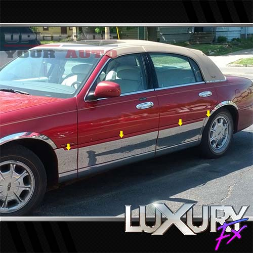 8p Luxury FX Chrome Side Accent Trim For 1998-11 Lincoln