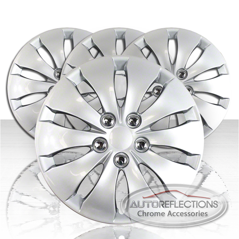 "Set of Four 16"" Silver Hubcap Wheel Covers for 2008-2012 Honda Accord (Push-on) 