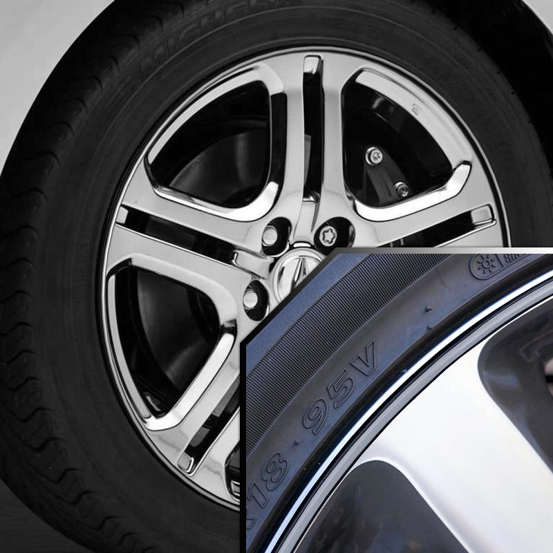 Wheel Bands Silver In Black Pinstripe Edge Trim For Acura