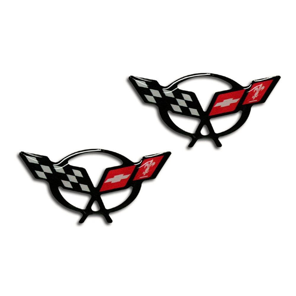 ACC Emblems Crossed Flags Logo fits 1997-2004 Chevy Corvette C5-2pc 1 3//4/' Vinyl