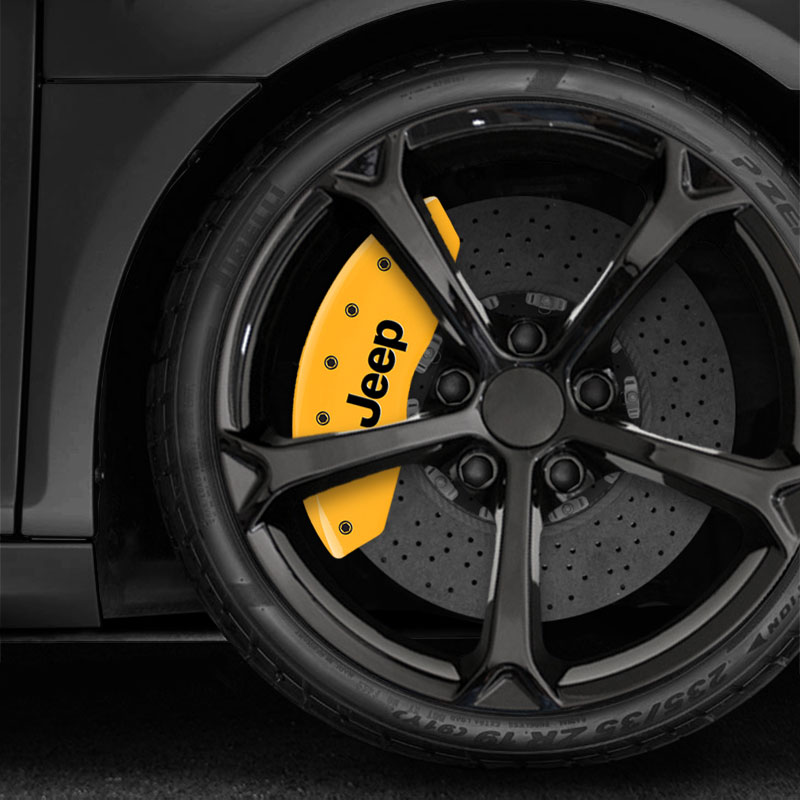 MGP Caliper Covers Set of 4 Engraving For 2014-2017 Jeep Wrangler-Yellow