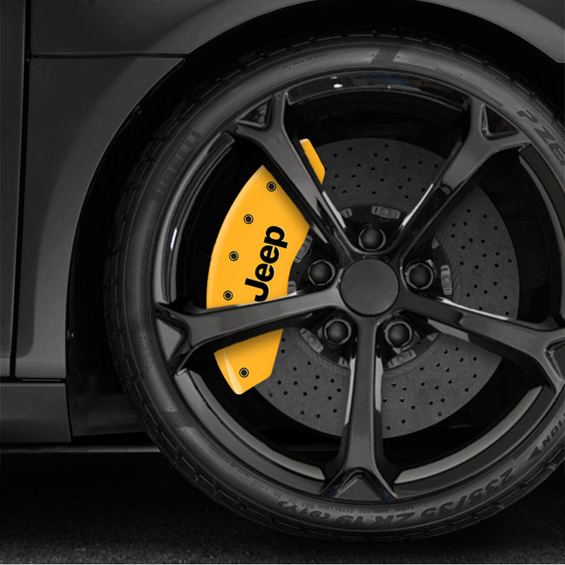 Front And Rear Yellow Caliper Covers W/JEEP For 2018-19
