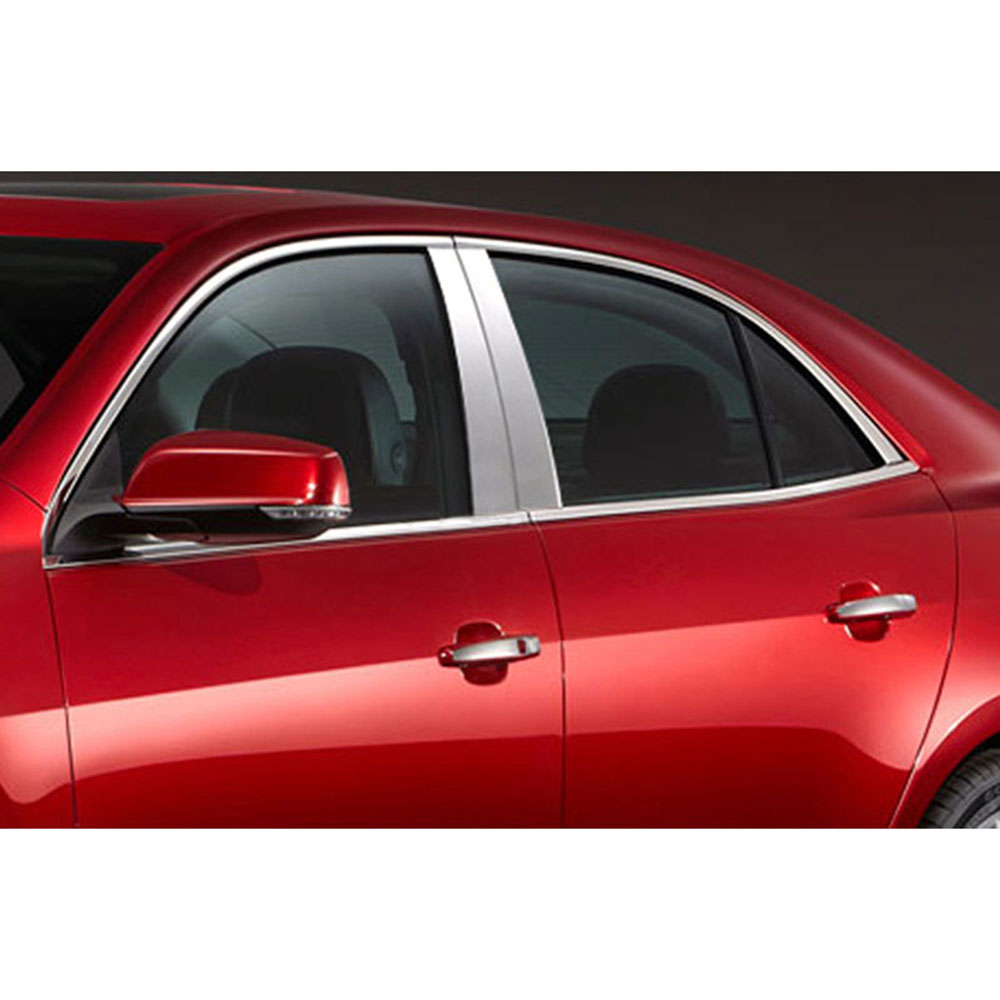 Made in USA Works with 2013-2015 Chevrolet Malibu 4PC Stainless Steel Chrome Pillar Post Trim