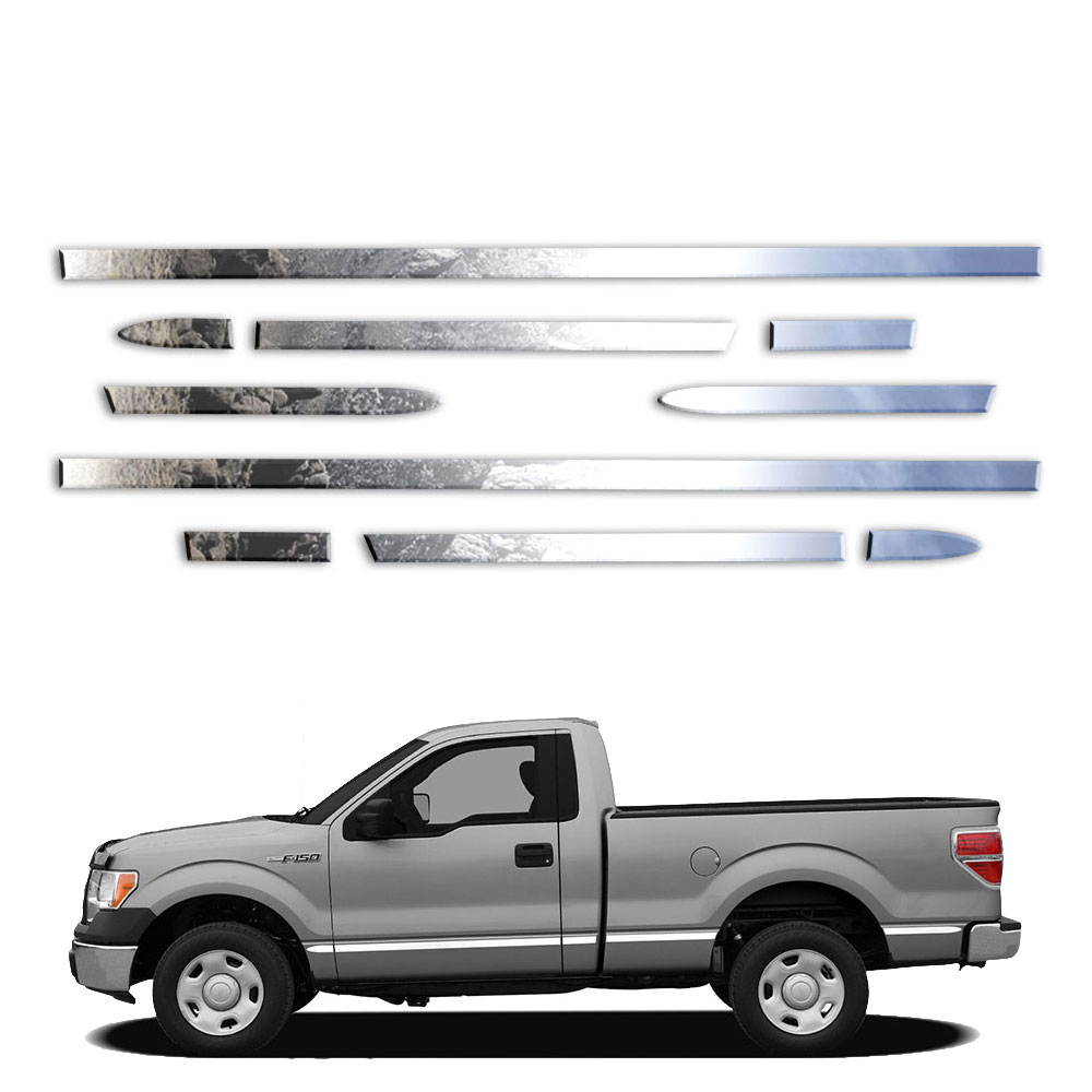 12p LuxuryFX Chrome 1 1//2/' Molding Insert w//Flares for 2009-2014 Ford F150 6.5/'