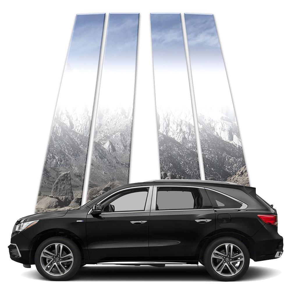 4p Stainless Pillar Post Covers Fits 2014-2019 Acura MDX