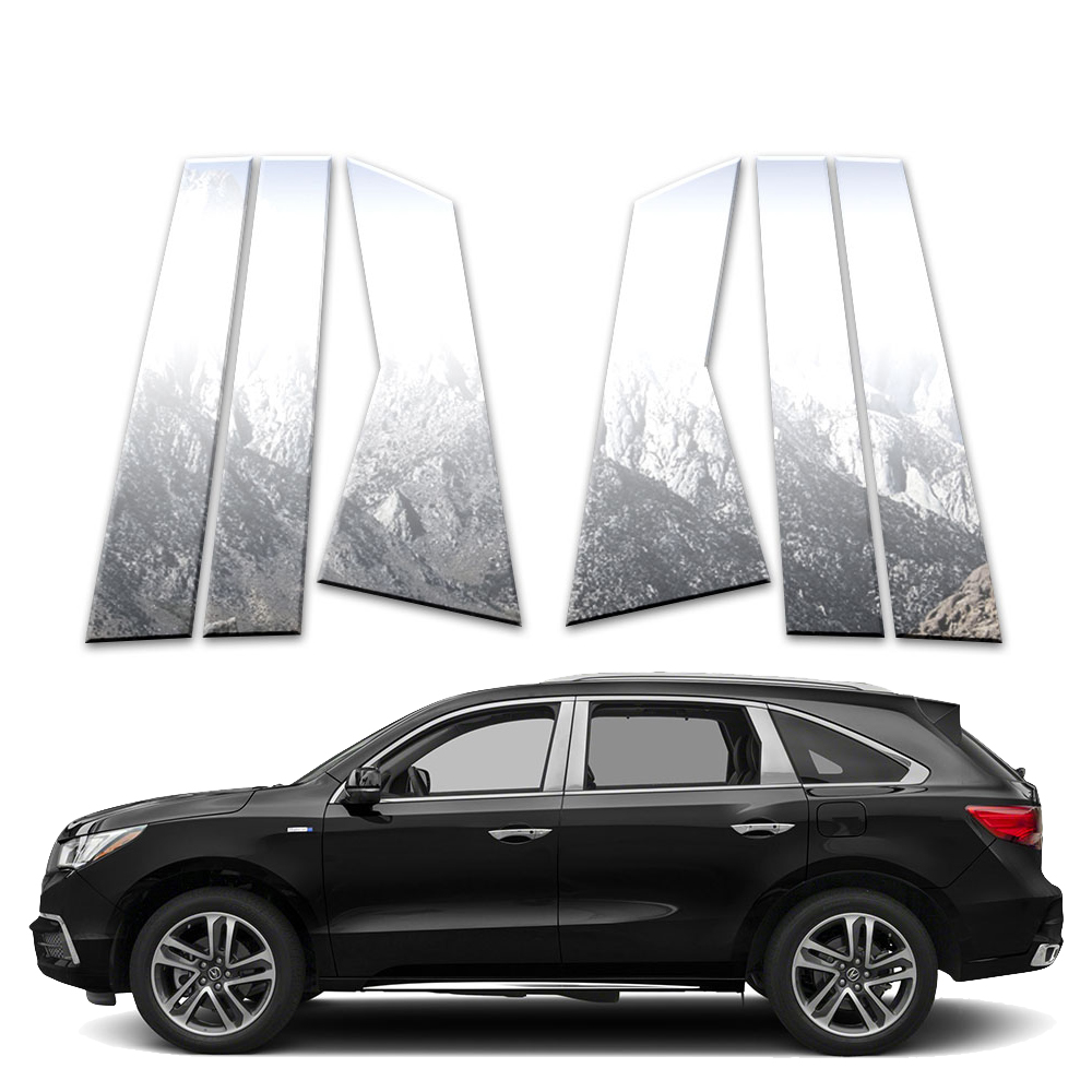 6p Stainless Pillar Post Covers Fits 2014-2019 Acura MDX
