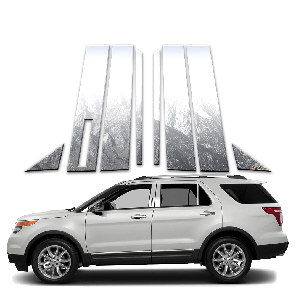 Auto Reflections Pillar Post Covers fit for 2011-19 Ford Explorer 8p w//Cutout
