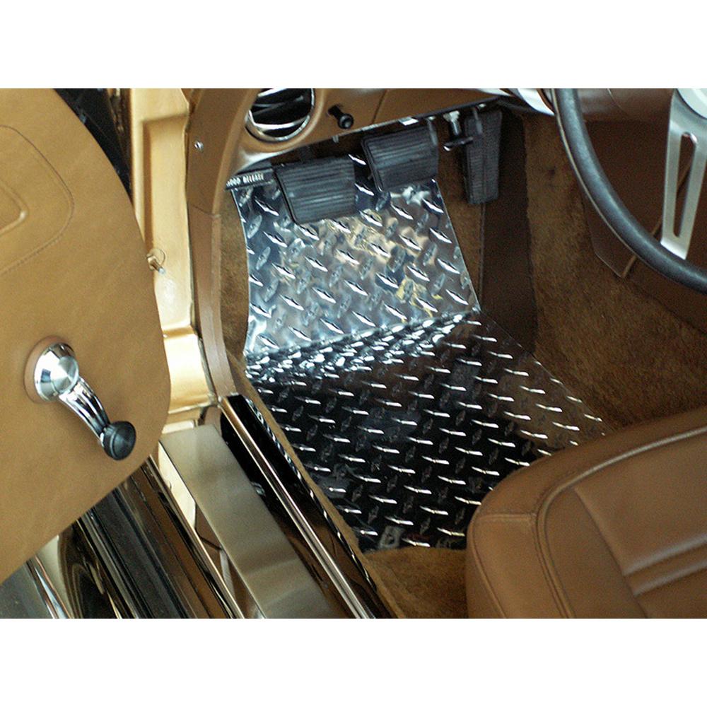 Aluminum//Polished Diamond Plate Floor Mats 2p for 1968-1982 Chevy Corvette C3