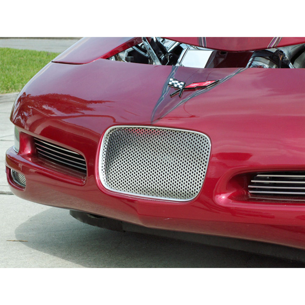 Polished Stainless Front Laser Mesh Brake Vent Grilles for 97-04 Chevy Corvette