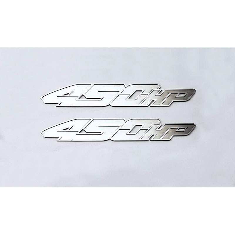 ACC Badges /'450HP/' fits 2017 Ford F-150 SVT Raptor-2pc Stainless Steel//Polished