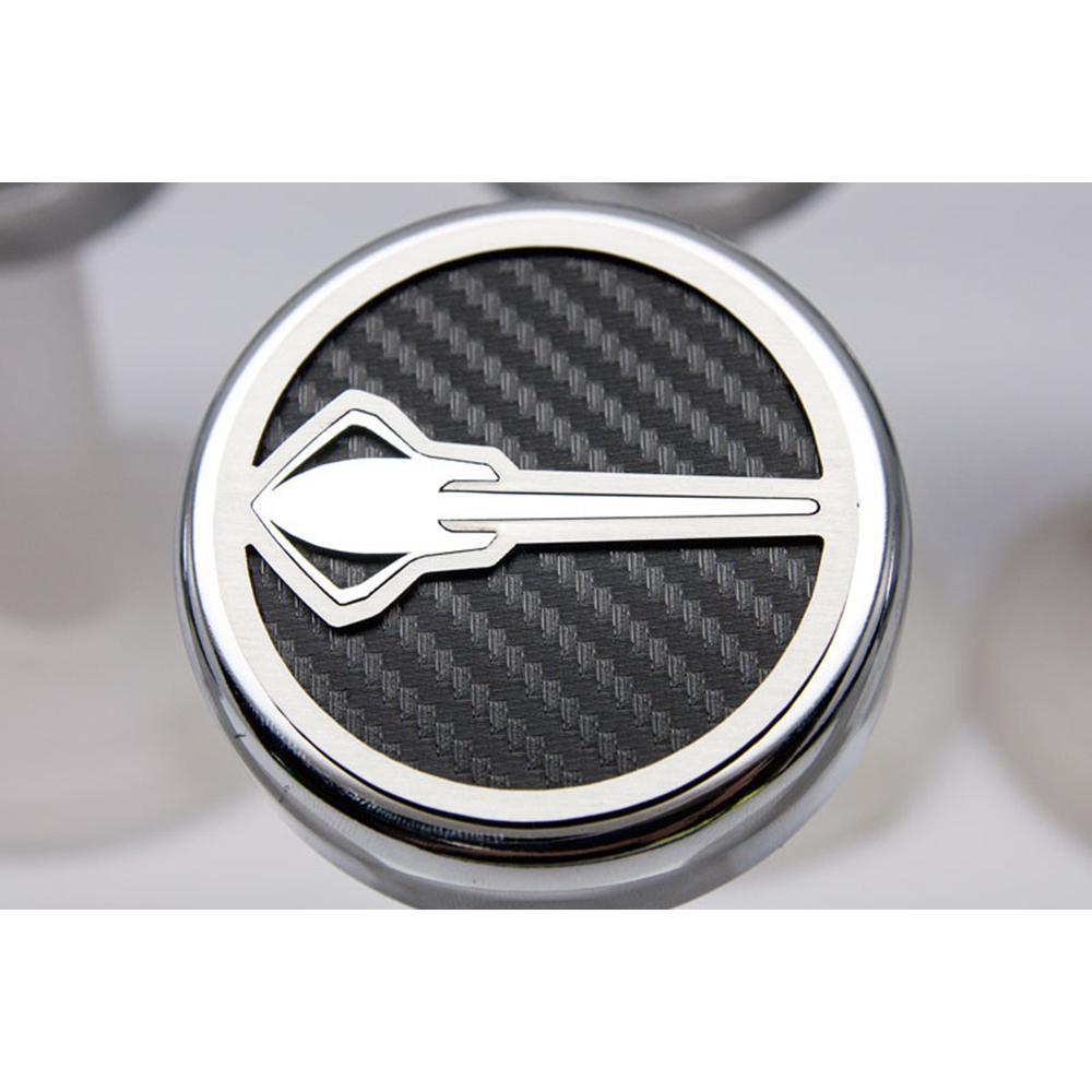 Chrome Stingray Cap Covers W/White CF Inlay For 2014-2019