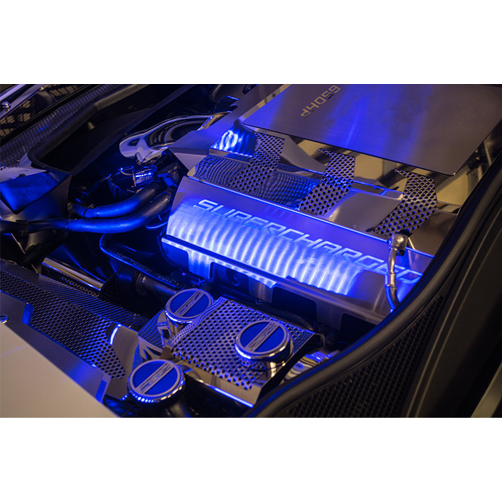 Stainless Fuel Rail Covers w/White LED&'Supercharged' for ...