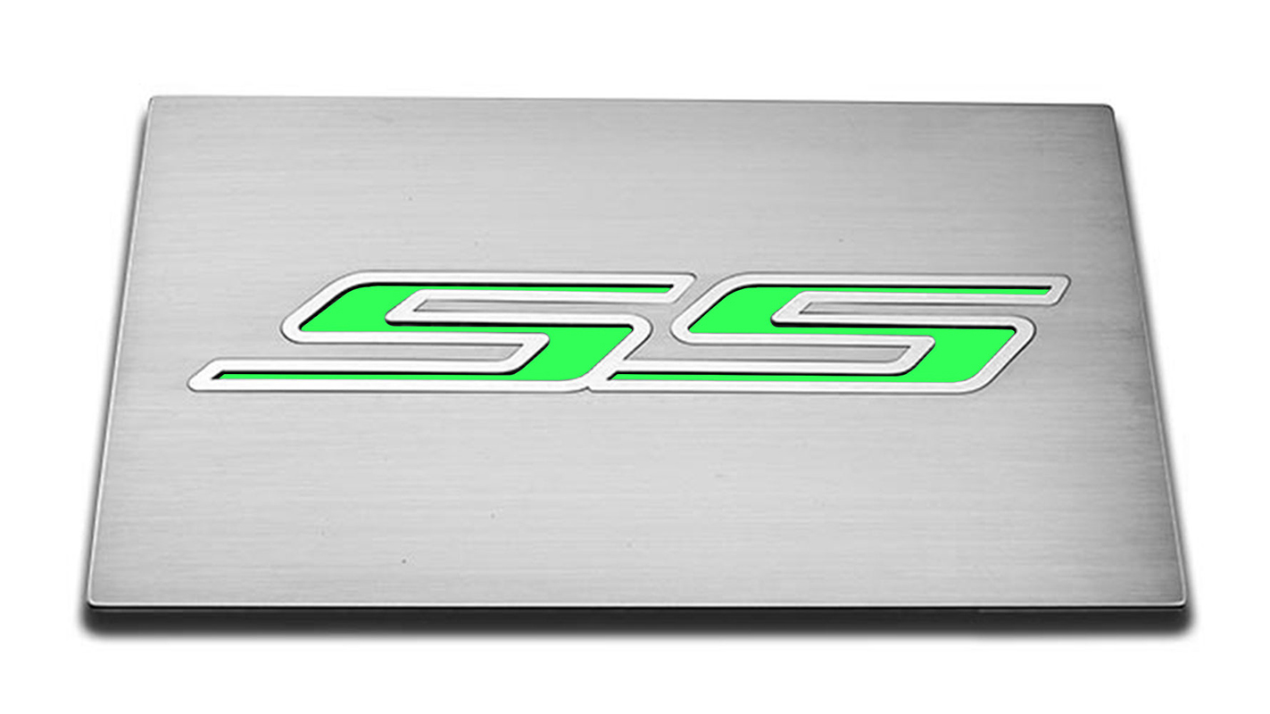 90 camaro fuse box brushed fuse box cover plate w synergy green  ss  inlay for 2016  cover plate w synergy green  ss