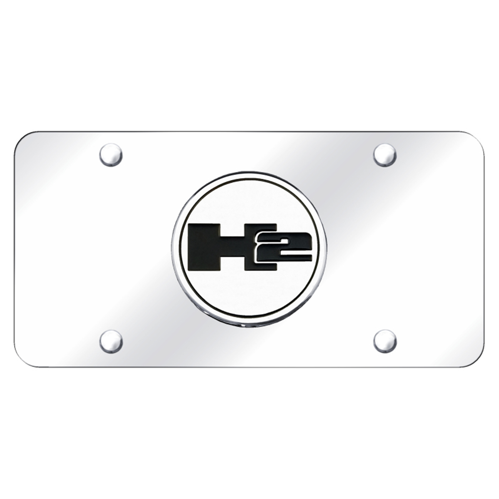 Hummer H2 Logo on Black Metal License Plate with Lifetime Warranty Au-Tomotive Gold INC