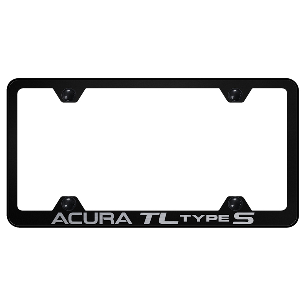 Type S On Black Wide Body License Plate Frame