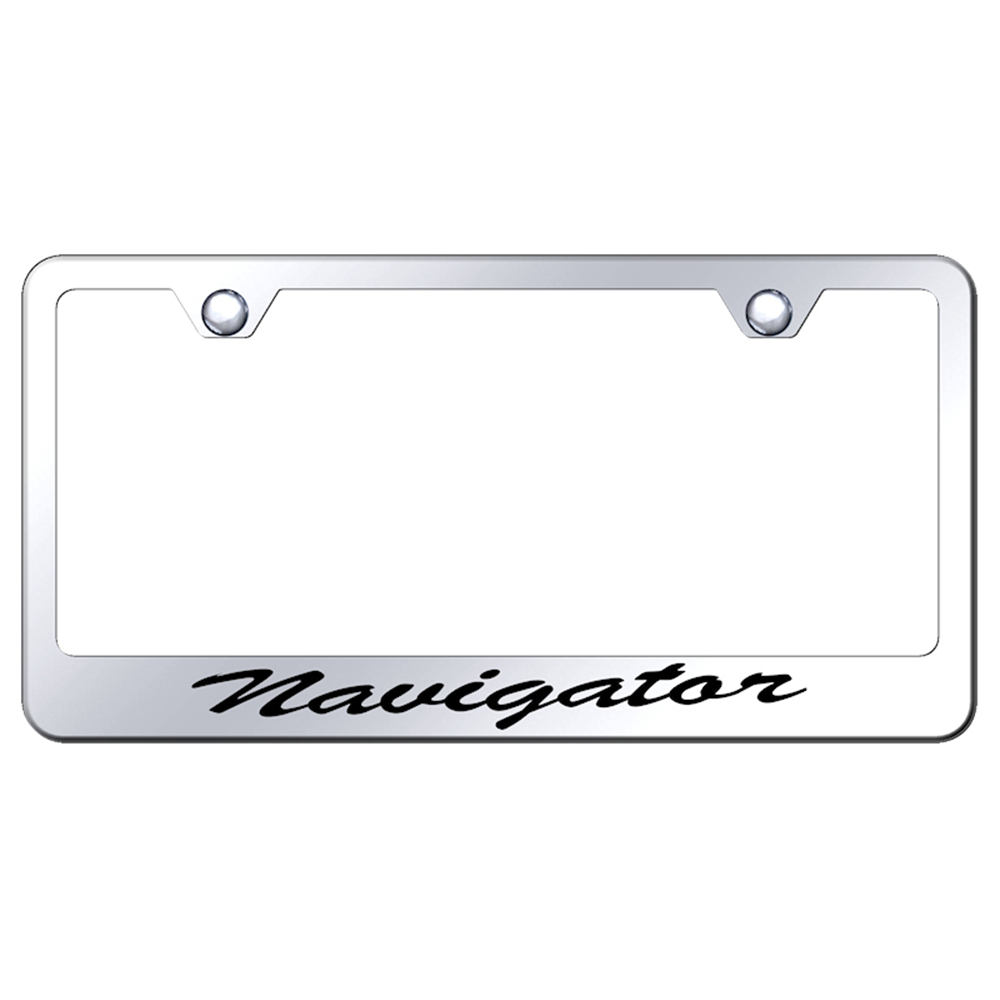 Automotive Gold Laser Etched Brushed Lincoln Cut-Out Frame