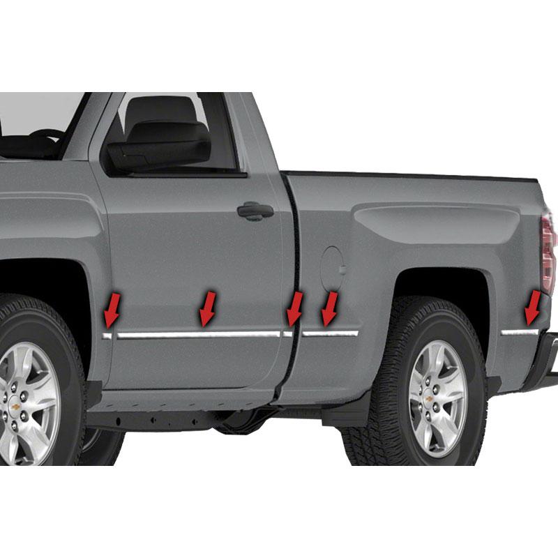 """SILVERADO 1500 CREW CAB 2014-2018 CHROME BODY SIDE Moldings TRIM 2/"""" WIDE For"""